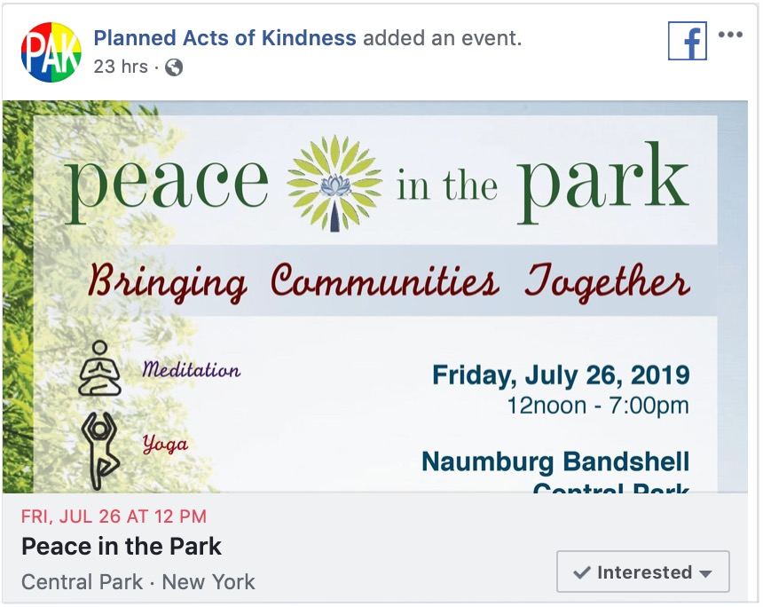 Peace in the Park in Central Park on Facebook